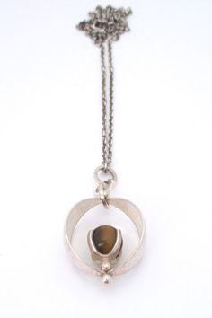 Elis Kauppi for Kupittaan Kulta silver & tiger eye pendant necklace
