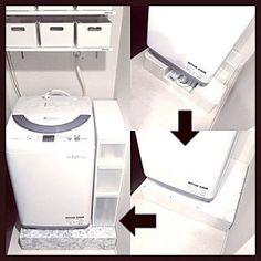 Bathroom/洗面所/100均/洗濯機周り/白黒/モノトーン...などのインテリア実例 - 2016-07-05 23:48:04
