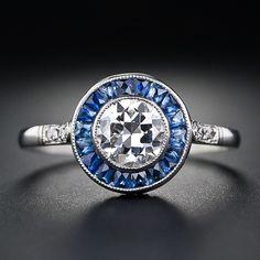 .72 Carat  Art Deco Style Diamond and Sapphire Ring