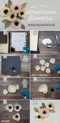 Sewing Fabric Flowers DIY Felt Anemone Tutorial by MichaelsMakers Lia Griffith - Make a simple yet stunning DIY felt flower with this pattern and tutorial from handcrafted lifestyle expert Lia Griffith. Handmade Flowers, Diy Flowers, Fabric Flowers, Paper Flowers, Felted Flowers, Felt Diy, Felt Crafts, Fabric Crafts, Diy And Crafts