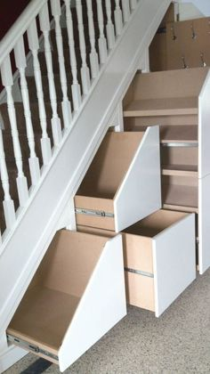 View photos of our Under Stairs Storage & Attic Storage solutions. Stairs Storage Drawers, Under Stairs Drawers, Stairway Storage, Space Under Stairs, Under Stairs Cupboard, Hallway Storage, Attic Storage, Smart Storage, Storage Spaces