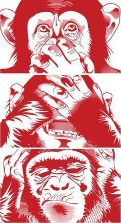 Hear no evil,see no evil,speak no evil.im excited Three Wise Monkeys, Monkey Tattoos, Monkey Art, Gas Monkey, Arte Pop, Dope Art, Vector Art, Art Journals, Gorilla Tattoo