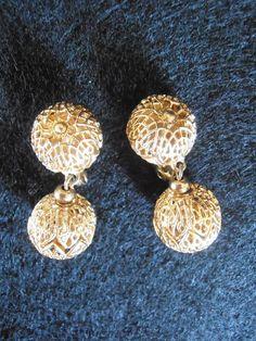 Vintage Monet Gold toned filigree ball Earrings Monet Pat'd