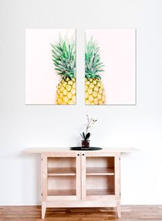 Set of two Pineapple Prints - On Trend Pineapple Prints - Contemporary Home Decor - Pink Green Yellow Home Decor - Pineapple Style Wall Art by ItBeganInParis on Etsy https://www.etsy.com/listing/269200248/set-of-two-pineapple-prints-on-trend