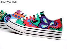 Princess Margaret Hand Painted Platform Canvas Shoes,Low-top Painted Canvas Shoes