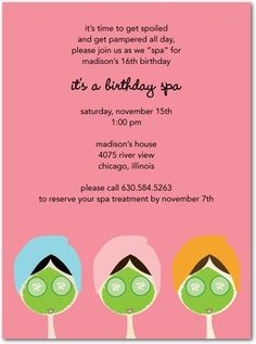Invitations For Little Girls Little Spa Girl Pamper Party