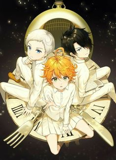 Norman,Emma & Ray - Yakusoku no Neverland Manga Anime, Otaku Anime, Anime Art, Film Animation Japonais, Familia Anime, Anime Lindo, Estilo Anime, Animes Wallpapers, Neverland