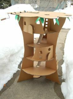 Diy cardboard tree house for ratties :)