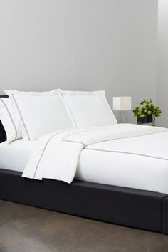 W Hotel Stripe Bedding - Charcoal/White