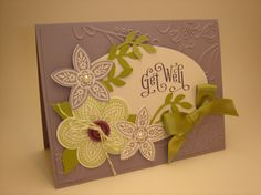 """Triple treat flower stamp is retiring! I love this Stampin' Up! get well card. The stamp set is """"Perfectly Penned""""."""