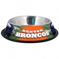 Denver Broncos Stainless Steel Dog Bowl $19.99 http://sportsstore.usatoday.com/Denver-Broncos-Stainless-Steel-Dog-Bowl-_-2090016009_PD.html?social=pinterest_pfid47-05969