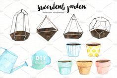 Succulent Garden Watercolor Cliparts by everysunsun on @creativemarket