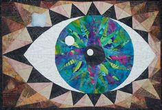 Contemplation of Birth Art Quilt, Butterflies and Eye, Mariners Compass, 3 Dimensional. $675.00, via Etsy.