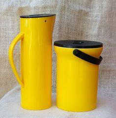 Mikasa Yellow Ice Bucket and pitcher set by TrellisLaneVintage, $45.00