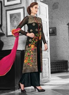 Awesome Black Embroidery Work Georgette Palazzo Pakistani Suit #Suits #Anarkali #Salwar   http://www.angelnx.com/Salwar-Kameez