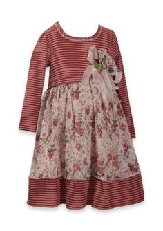 Bonnie Jean Printed Chiffon Dress Girls 4-6X - Rose - 5