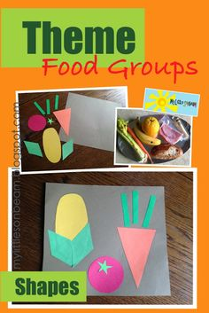 My Little Sonbeam: November Week 2 - theme and math activity and craft: food groups and shapes. Learn about the food groups by making a tray of real food. Make a corn, tomato and carrot using shapes. This a perfect activity for Thanksgiving (fall) time as well. Mylittlesonbeam.blogspot.com {homeschool preschool learning activities and crafts}