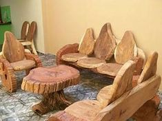 Фотография Trunk Furniture, Rustic Log Furniture, Wooden Pallet Furniture, Handmade Furniture, Unique Furniture, Diy Furniture, Furniture Design, Diy Wood Projects, Wood Crafts