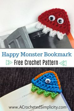 Free Crochet Pattern - Happy Monster Crochet Bookmark by A Crocheted Simplicity Knitting ProjectsCrochet For BeginnersCrochet ProjectsCrochet Amigurumi Crochet Books, Crochet Gifts, Cute Crochet, Crochet Teacher Gifts, Quick Crochet, Kids Crochet, Holiday Crochet, Modern Crochet, Bookmark Crochet