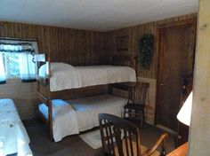 sheep wagon cabins,beds | Wagon Wheel RV Campground and Cabins: Bunk Beds in main room - cabin 6