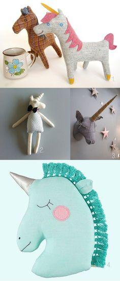 Really sweet interpretations of #unicorns.  1. #plush unicorn by Penguin and Fish 2. #softtoy unicorn by Hallo Studio Escargot 3. unicorn head via Curiosites-en-Tissu 4. unicorn #pillow by Mini Boheme