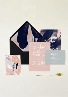 Faire part mariage tendance et original. Collection Paloma, une collection coloré avec différents motifs pour un mariage arty