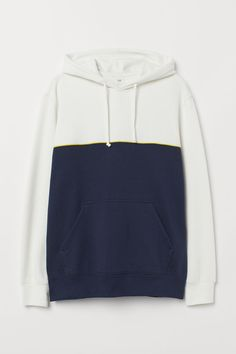 Sweatshirt in a soft cotton blend. Jersey-lined, wrap-front hood with drawstring, kangaroo pocket, and ribbing at cuffs and hem. World Of Fashion, Fashion News, Mens Sweatshirts, Hoodies, Dark Blue, Blue And White, White Man, Fashion Company, Sleeve Styles