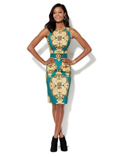 Shop Medallion-Print Scuba Midi Sheath Dress . Find your perfect size online at the best price at New York & Company.