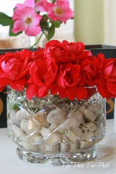 simple arrangement using knock out roses