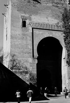 Black & white film photography of the Alhambra Palace in Granada, Spain.