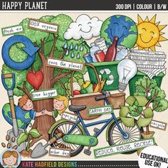 "Earth Day Clip Art: ""Happy Planet"" by Kate Hadfield Designs Scrapbook Kit, Birthday Scrapbook, Scrapbook Supplies, Earth Day Drawing, Earth Drawings, Doodle Drawings, Earth Day Clip Art, Drawing Competition, Poster Competition"