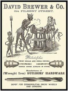 Antique Philadelphia Print  The Devil Grinders by TheGrandReview, $40.00