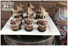 Muffins with craft paper flags