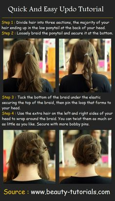Quick And Easy Updo Tutorial.. I might try this right now before going to work