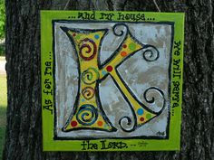Items similar to K initial painting on Etsy Pottery Painting Designs, Paint Designs, Initial Canvas, Christmas Canvas Art, Paint Party, Original Artwork, Symbols, Diy Crafts, Lettering