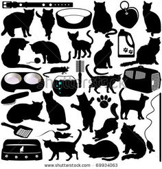 Vector Silhouettes Of Cats, Kittens And Accessories In Different Actions - 69934063 : Shutterstock