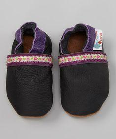 Look at this #zulilyfind! C'est Le Pied Black & Purple Flower-Trim Bootie by C'est Le Pied #zulilyfinds