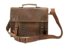 Messenger bag leather men's shoulder laptop women satchel briefcase vintage bags