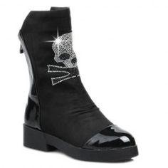 Trendy Splicing and Skull Pattern Design Women's Short Boots