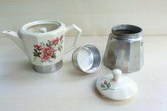 Vintage Italian Moka pot, stove top coffee maker '80s, ceramic and aluminum
