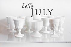 Milk glass part of the vintage glassware collection at POSH Couture Rentals Photo credit: Perez Photography Hello July, Vintage Glassware, Milk Glass, Candle Holders, Candles, Photo Credit, Toast, Couture, Summer