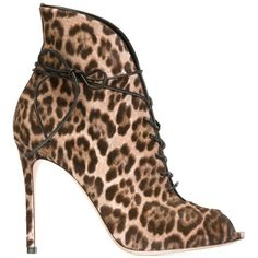 Gianvito Rossi Leopard Print Booties ($808) ❤ liked on Polyvore featuring shoes, boots, ankle booties, heels, booties, brown, brown peep toe booties, lace up heel boots, leopard booties and brown lace up boots