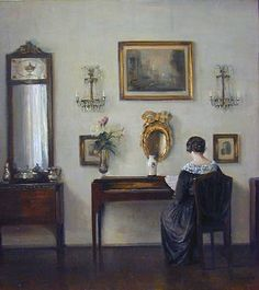 Carl Vilhelm Holsoe (Danish artist, Artist's Wife at Her Needlework Tableaux Vivants, Danish Interior, Modern Art, Contemporary, Dramatic Lighting, Art Society, English Artists, Aarhus, Beautiful Paintings