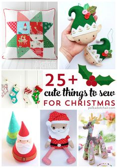 Sewing Gifts From stockings, to pillows, to ornaments and decorations. More than 25 cute things to sew for Christmas! - More than 25 cute things to sew for Christmas. Free sewing patterns and tutorials for Christmas stockings, pillows, crafts and softies. Christmas Sewing Projects, Easy Sewing Projects, Sewing Projects For Beginners, Sewing Crafts, Christmas Sewing Gifts, Crafts To Sew, Handmade Christmas, Christmas Sewing Patterns, Christmas Fabric Crafts