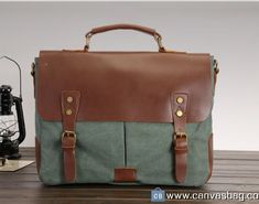 * Genuine Leather * Top quality canvas * Two zipper pockets inside and two open cellphone pockets * Two open pockets on the front * Very soft handle make it comfortable to hold by hand,. Canvas Messenger Bag, Laptop Messenger Bags, Canvas Backpack, Laptop Bag, Designer Inspired Handbags, Computer Bags, Cheap Handbags, Canvas Shoulder Bag, Everyday Bag