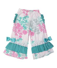Love this Pink & Turquoise Treasured Twirls Pants - Infant, Toddler & Girls on #zulily! #zulilyfinds