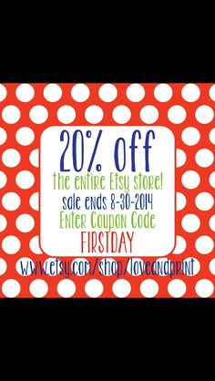 In celebration of the first days of school! 20% off my entire Etsy shop until the end of August!
