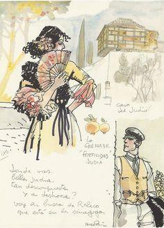 Hugo Pratt- Portfolio Cordoba, aquarelle et encre de chine, 1989