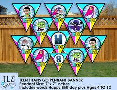 Teen Titans Go Birthday Banner - Printable Digital File Instant Download