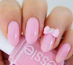 Unhas rosa com lacinho! *-*